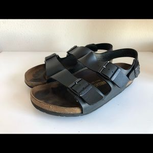 Birkenstock black leather Milano strap sandal